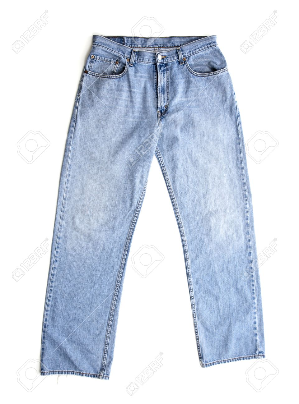 hot sale half off official store A pair of old blue denim jeans on a white background, clothing..