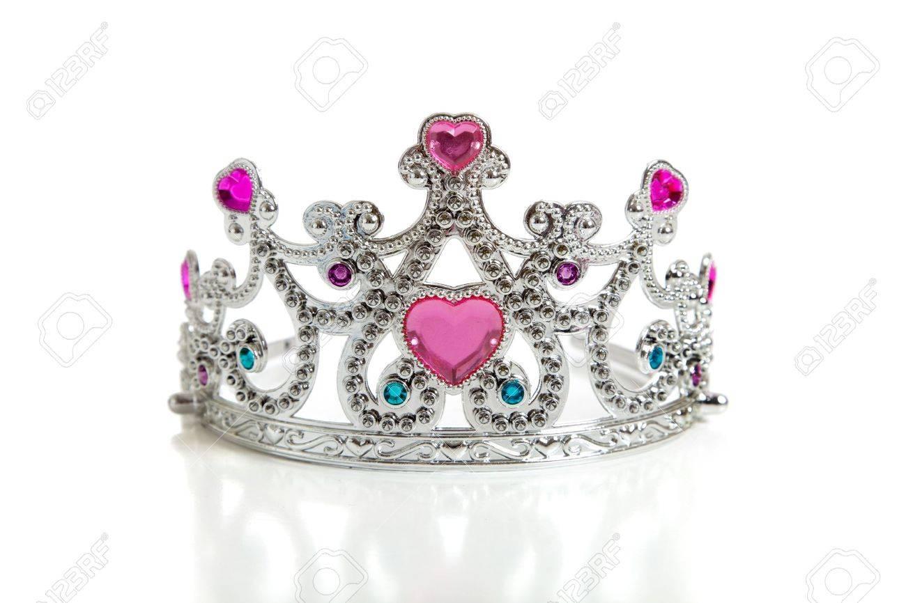 تيجان ملكية  امبراطورية فاخرة 5409950-A-child-s-toy-princess-tiara-on-a-white-background-with-copy-space-Stock-Photo