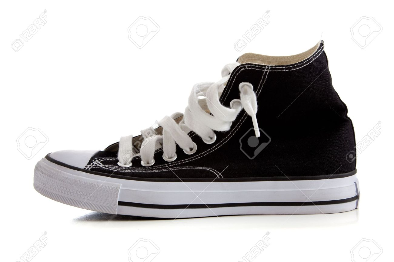 Black Canvas High Top Sneakers Or Tennis Shoes On A White ...