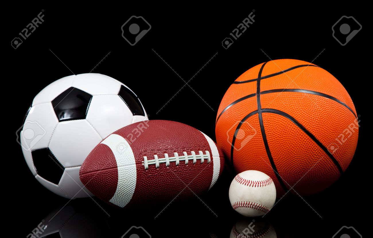 Multi Sports Balls On A Black Background Stock Photo