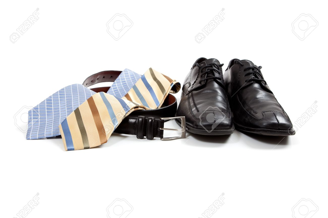 Assorted Men's Clothing Accessories Including Shoes, Ties, Belt ...