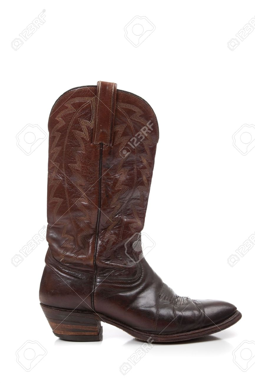 Brown Leather Cowboy Boots On A White Background Stock Photo ...