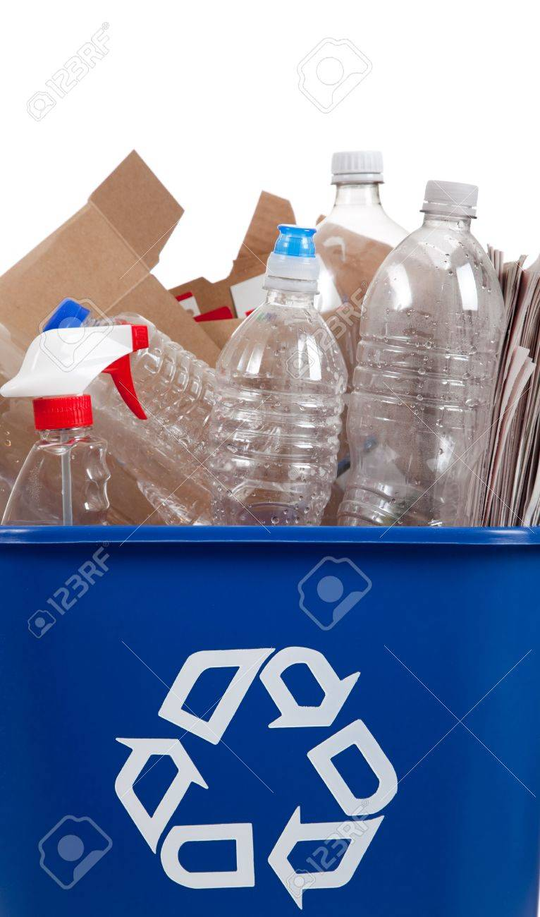 A recycle bin with recyclable item in it including bottles and boxes Stock Photo - 5723447