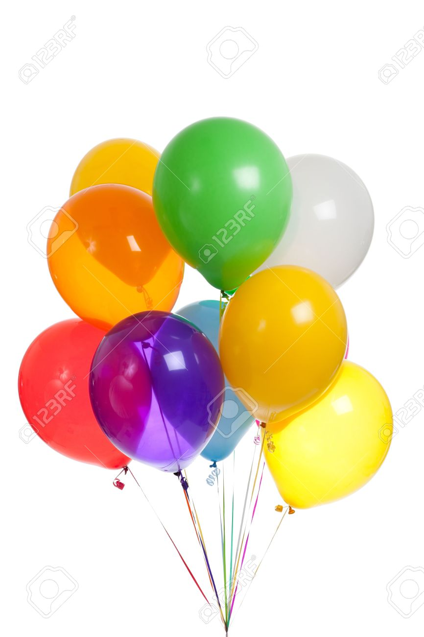 Green and blue balloons - Colored Balloons Including Green Yellow Blue Red White Orange Purple