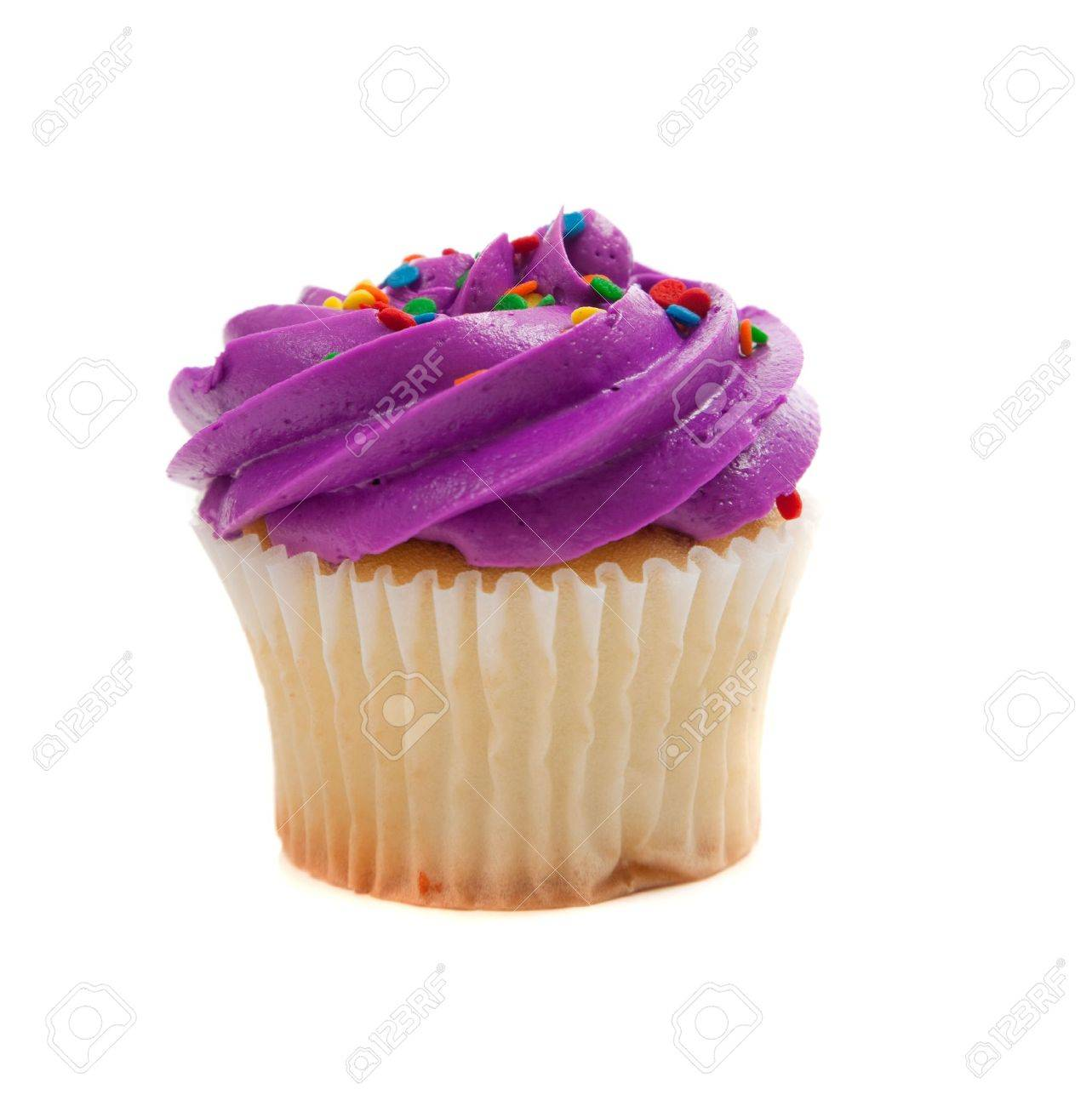 Purple Cupcake with colored sprinkles on a white background