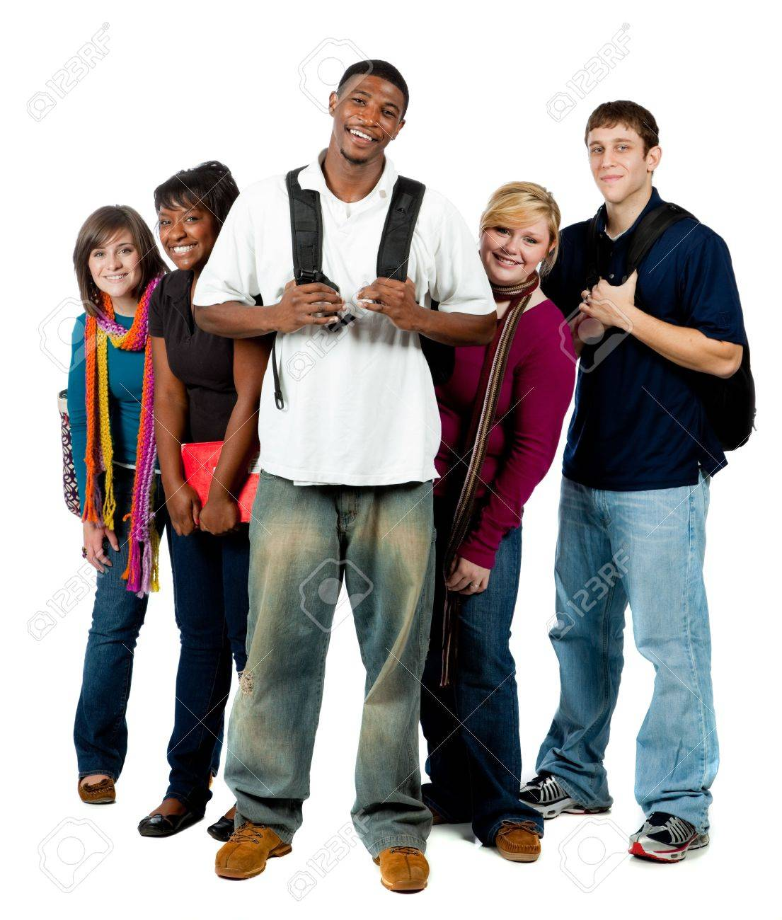 A group of happy multi-racial college students holding backpacks on a white background Stock Photo - 5798408