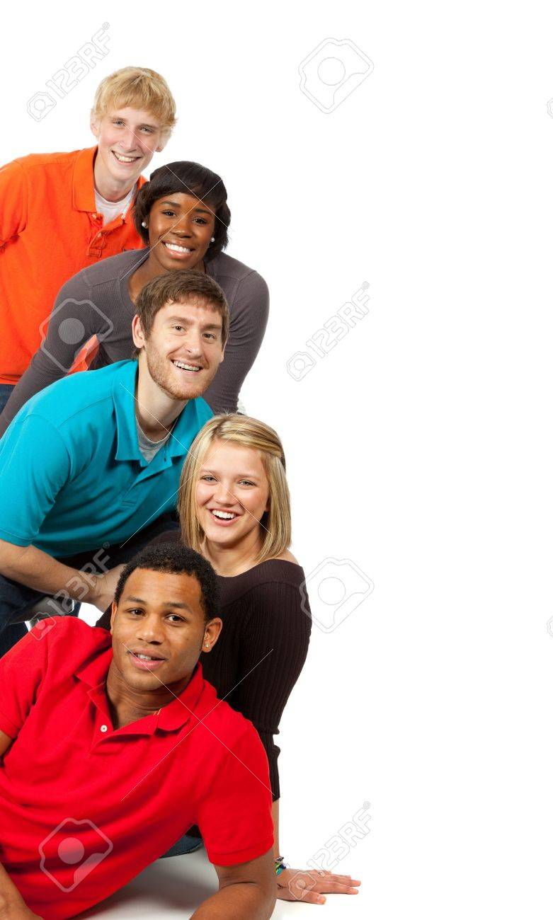 A group of happy multi-racial college students on a white background Stock Photo - 5808430