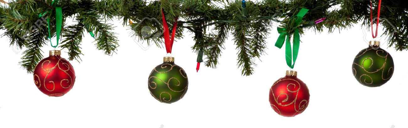 A Christmas Ornament Border With Red And Green Glittered Baubles