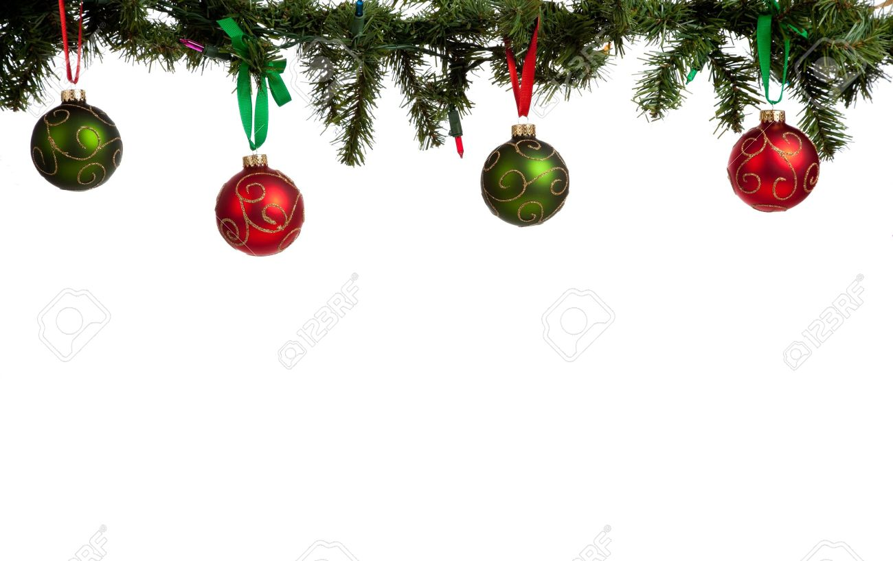 A christmas ornament border with red and green glittered baubles..