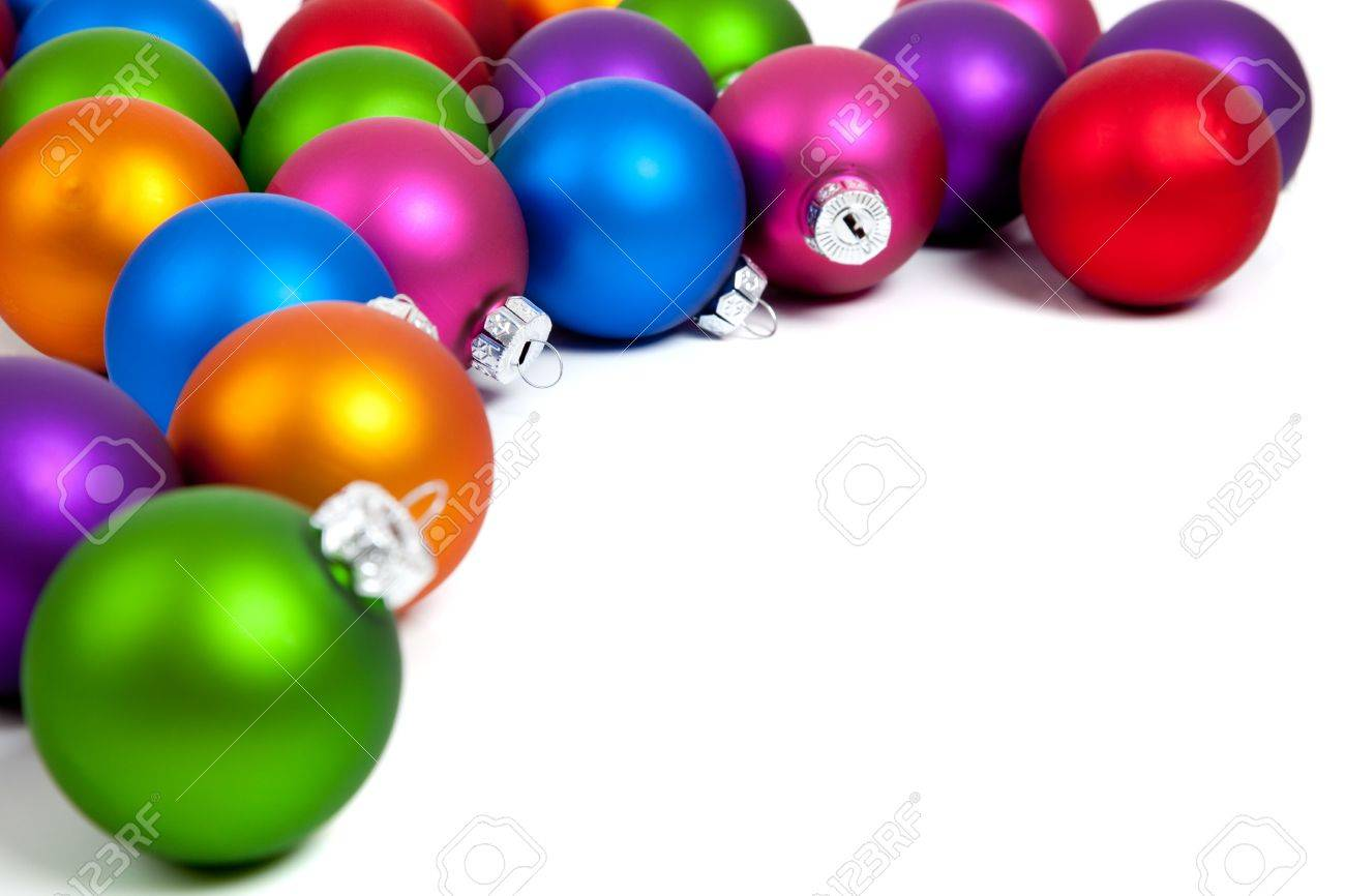 Red white and blue christmas ornaments - Purple Green Red Orange And Blue Christmas Balls Baubles On A White