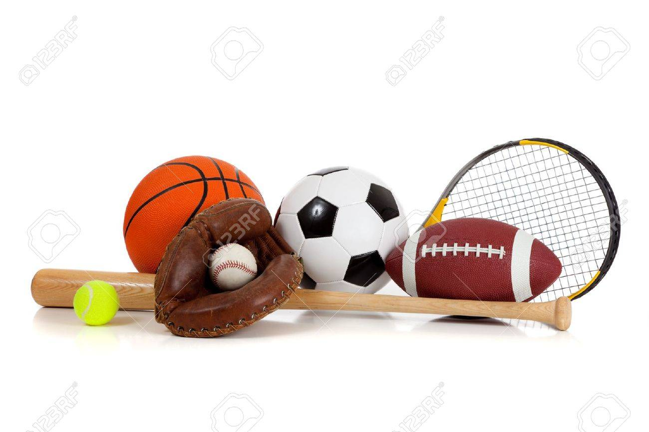 Assorted Sports Equipment Including A Basketball Soccer Ball
