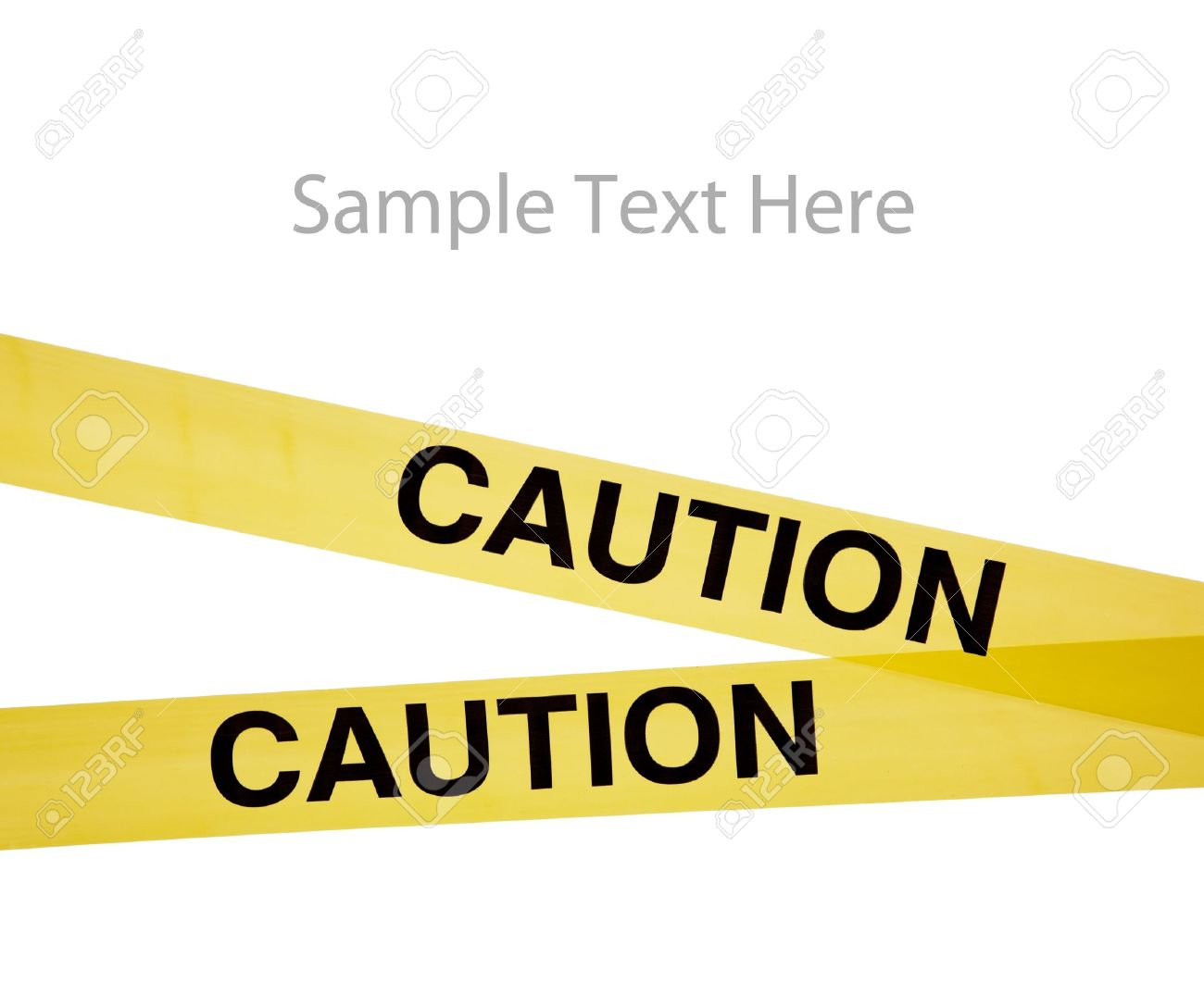 Yellow caution tape on a white background with copy space Stock Photo - 6025862