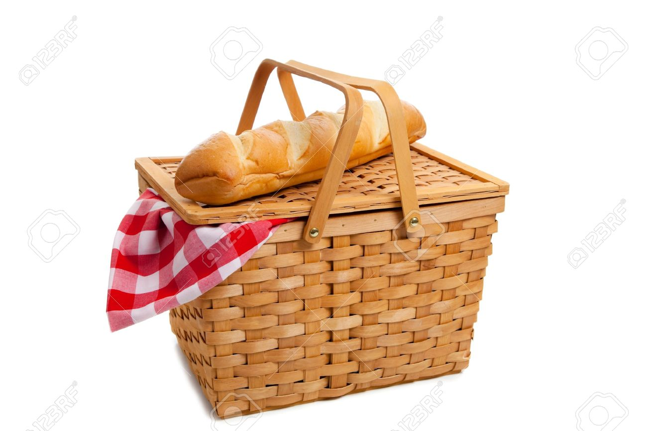 A wicker picnic basket with french bread on a white background Stock Photo - 6026250