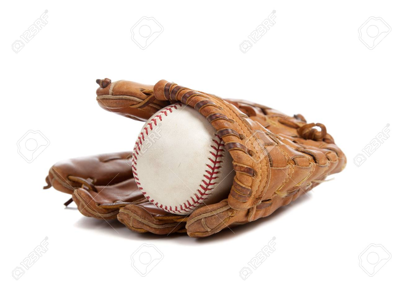 A baseball glove and ball on a white background Stock Photo - 6048115