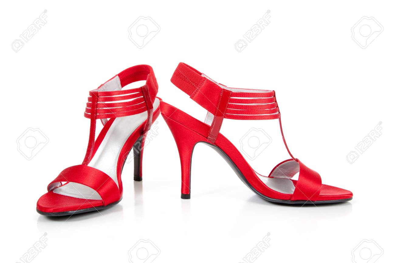 red strappy high heels