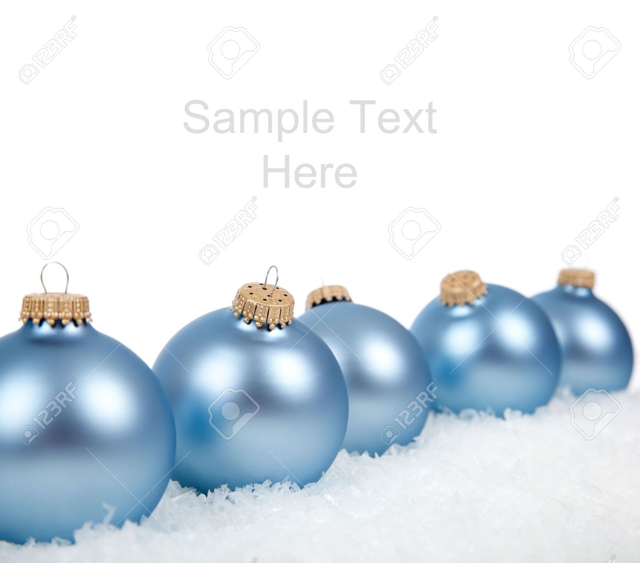 Baby Blue Christmas Ornaments Baubles On A White Background With