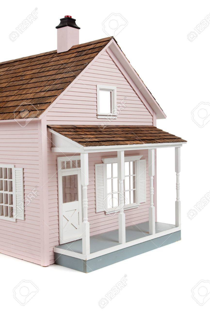 A Pink Wooden Dollhouse On A White Background Stock Photo Picture