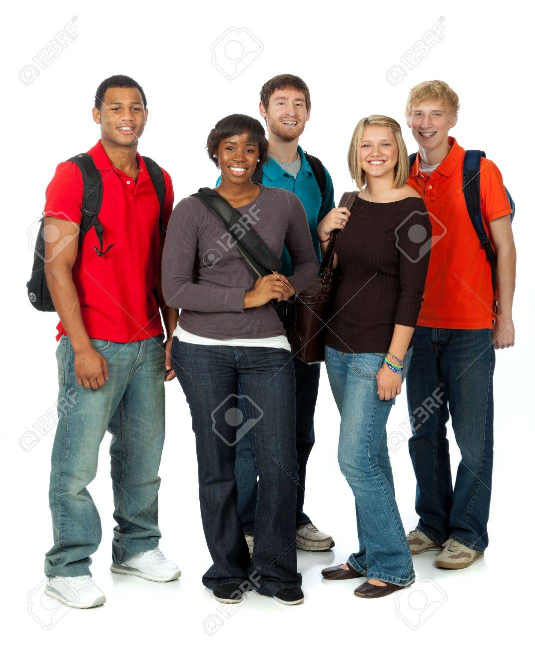 A multi-racial group of college students on a white background Stock Photo - 6720576