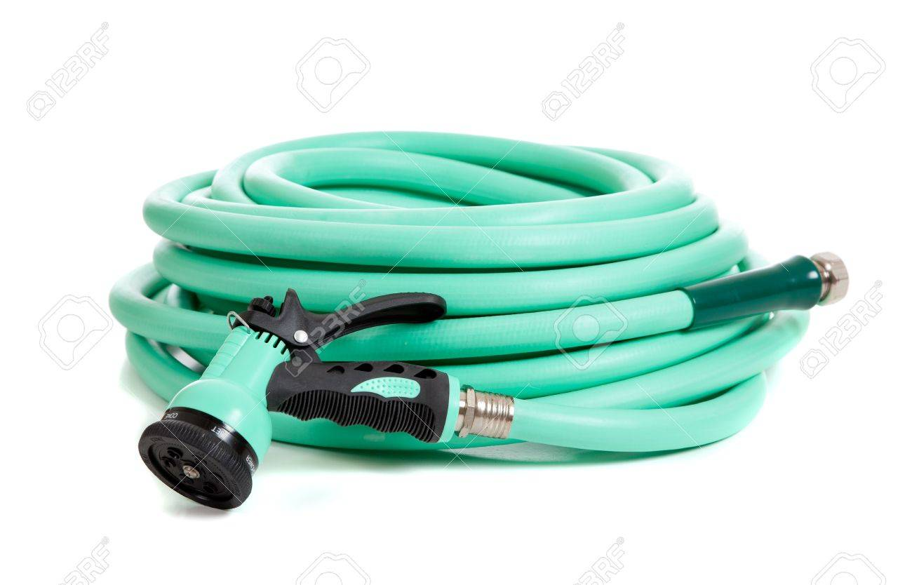 A Green Rubber Garden Hose With Nozzle On A White Background Stock