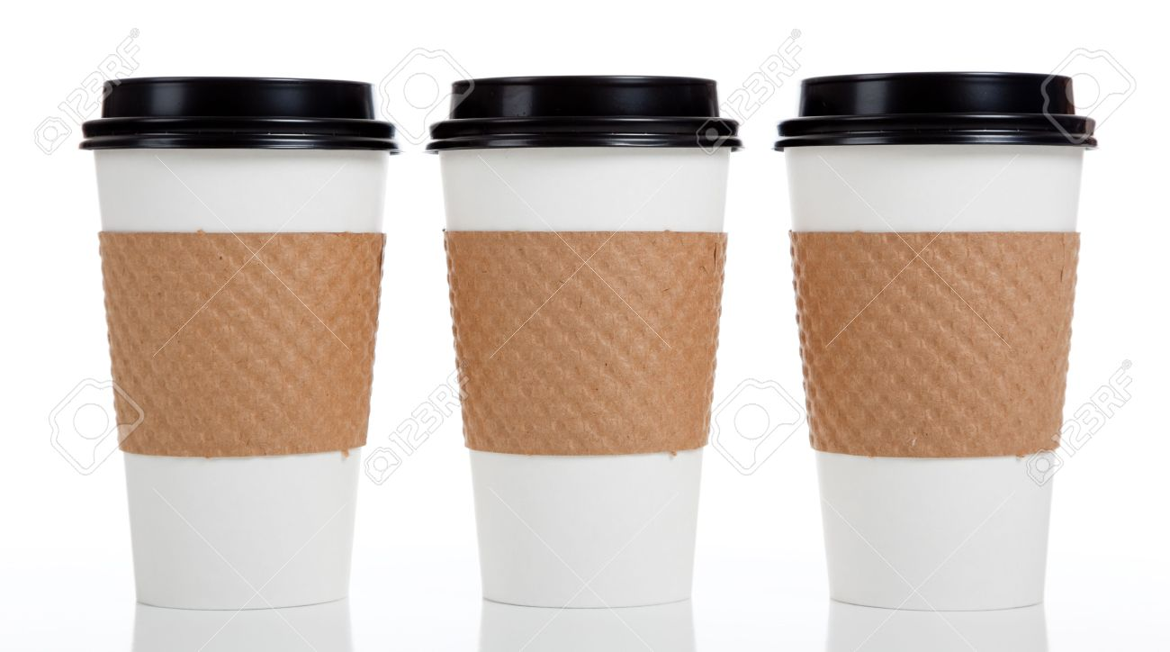 a row of paper coffee cups on a white background stock photo