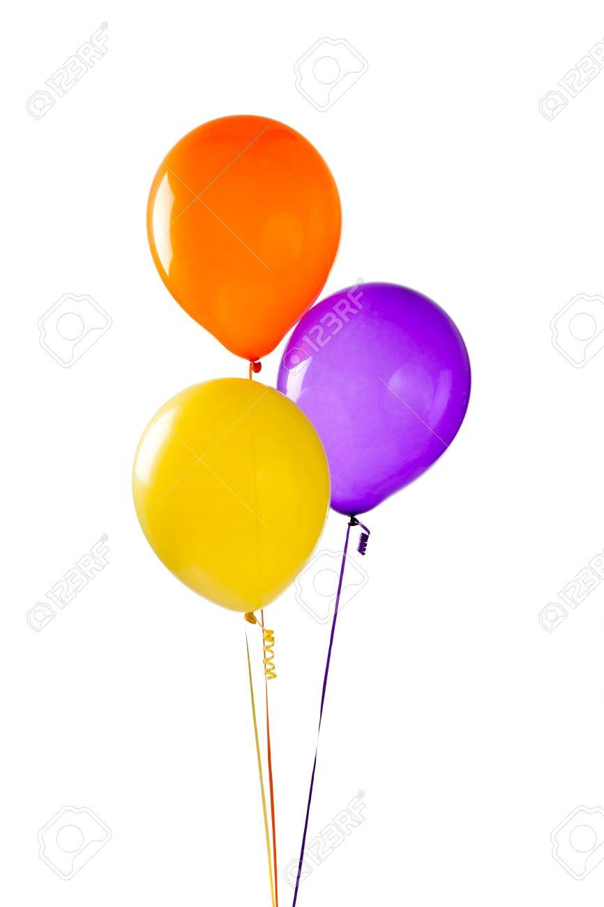 Yellow, purple and orange balloons on a white background Stock Photo - 6843005