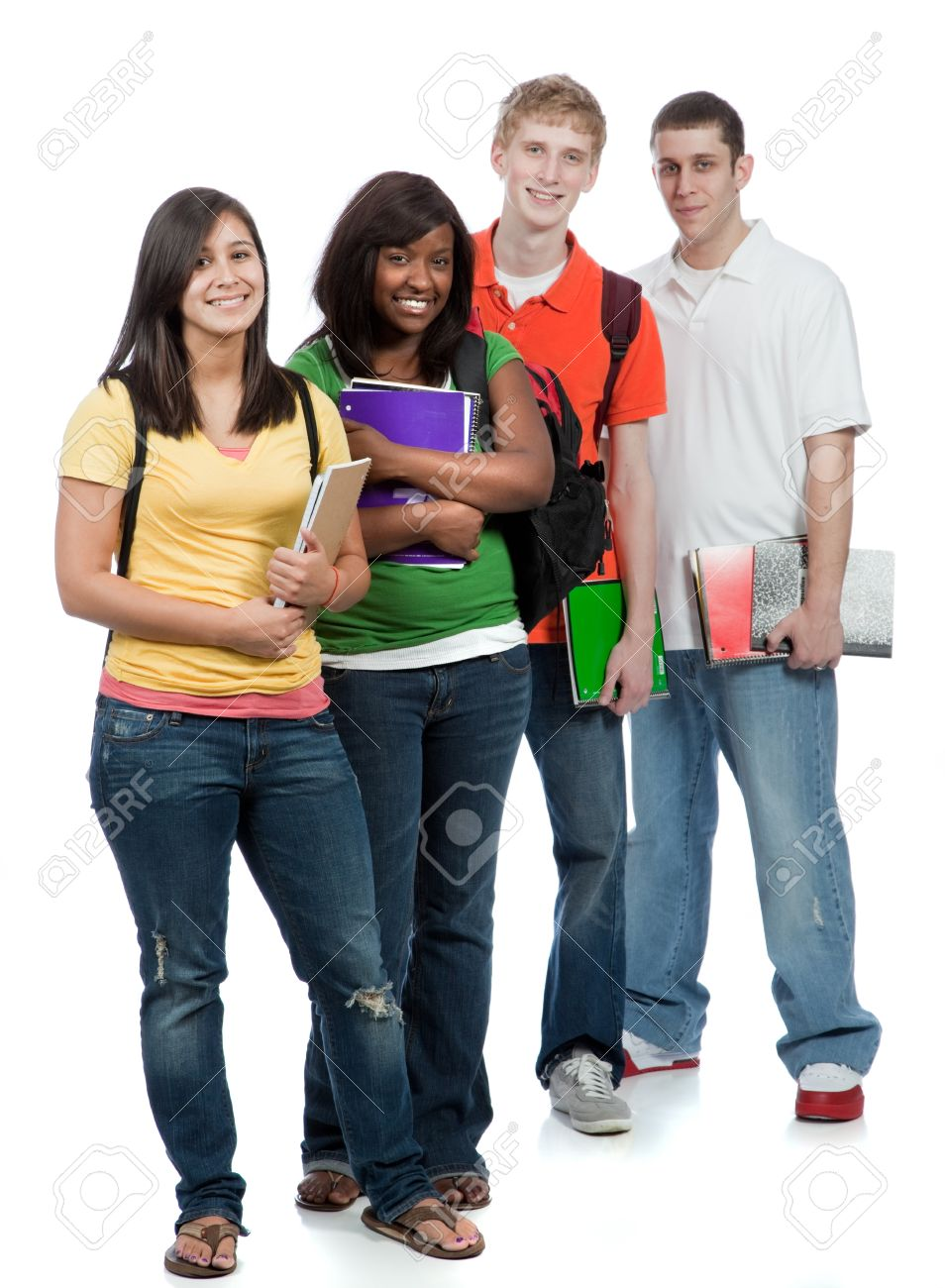 Multicultural College students, male and female Stock Photo - 9601907