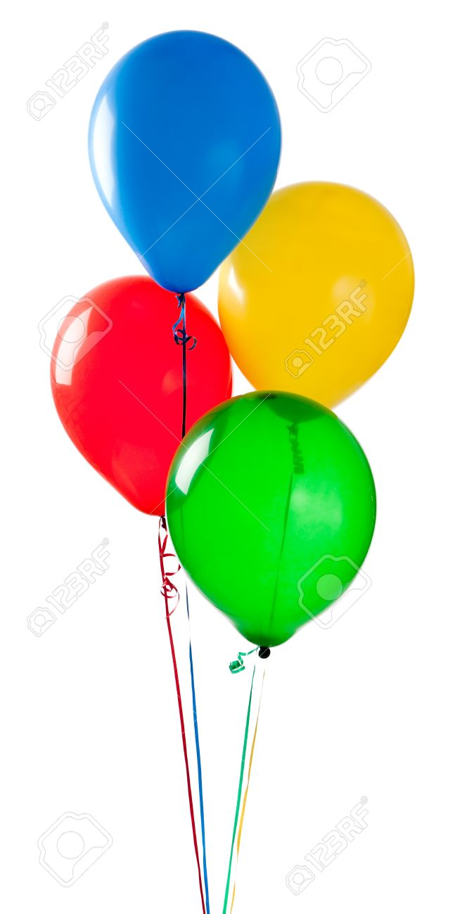 Green and blue balloons - A Group Of Red Yellow Green And Blue Balloons On A White Background Stock