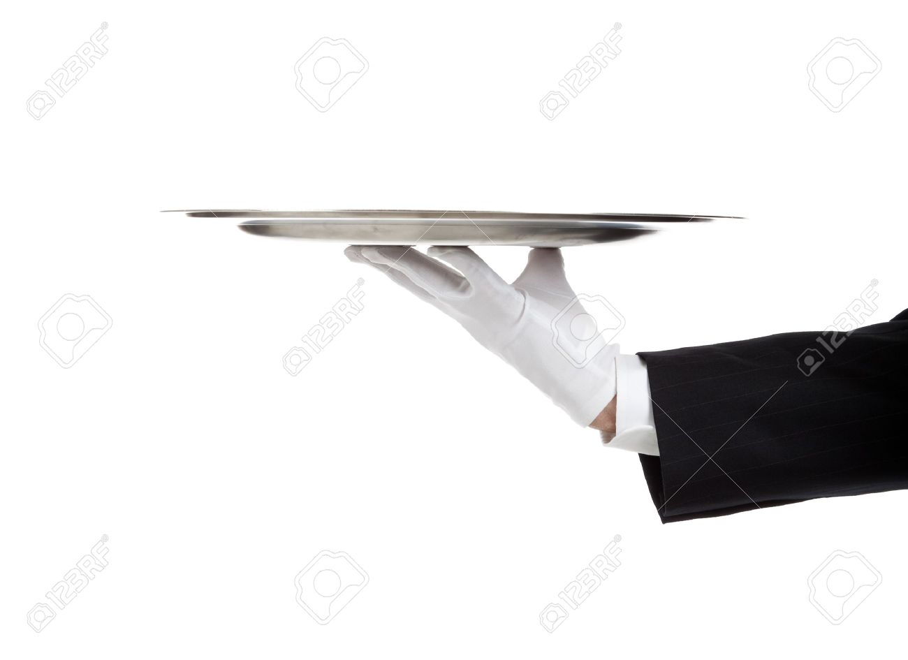 A white gloved hand holding a silver tray Stock Photo - 9671309