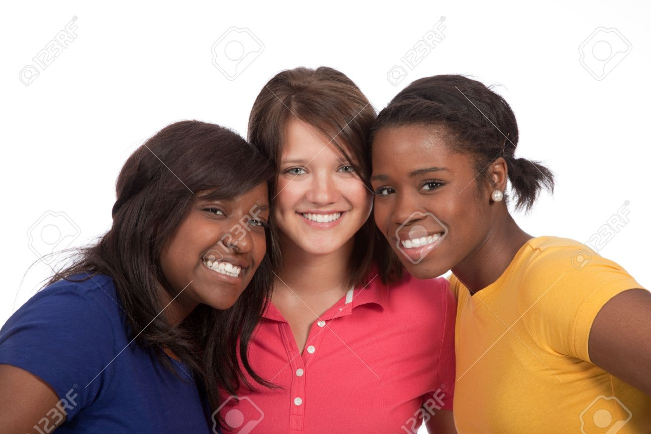 a multicultural group of beautiful female students on a white background Stock Photo - 9671828