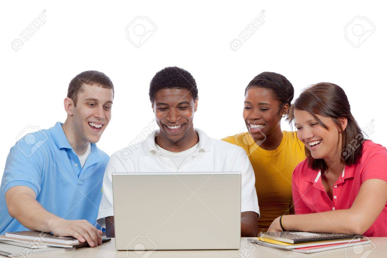 Multicultural College students, male and female, gathered around a computer Stock Photo - 9671819