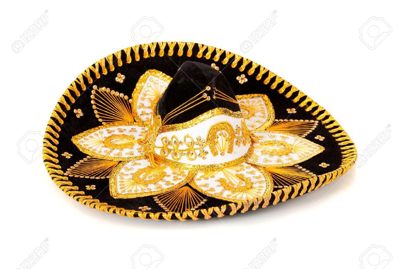 A black and gold mariachi sombrero on white background Stock Photo -  12653971 1e60f0de747