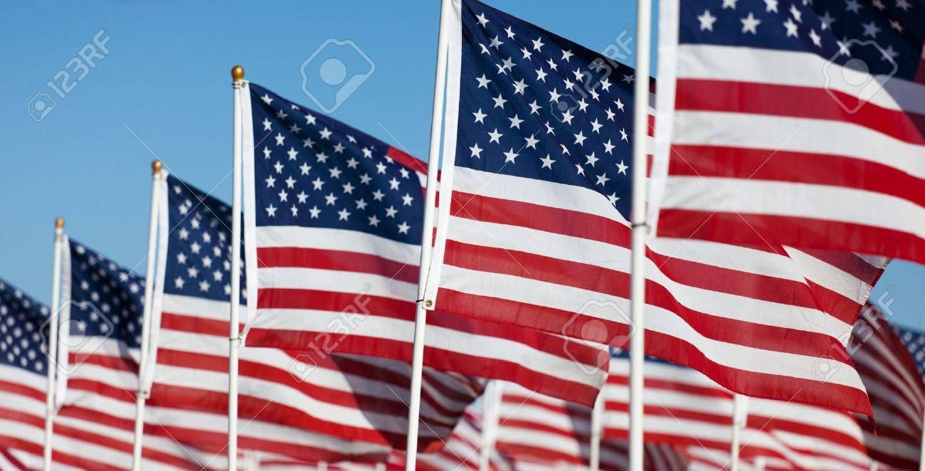 Large group of American Flags commemorating a national holiday, veterans day, independence day, 9/11, etc Stock Photo - 12654046