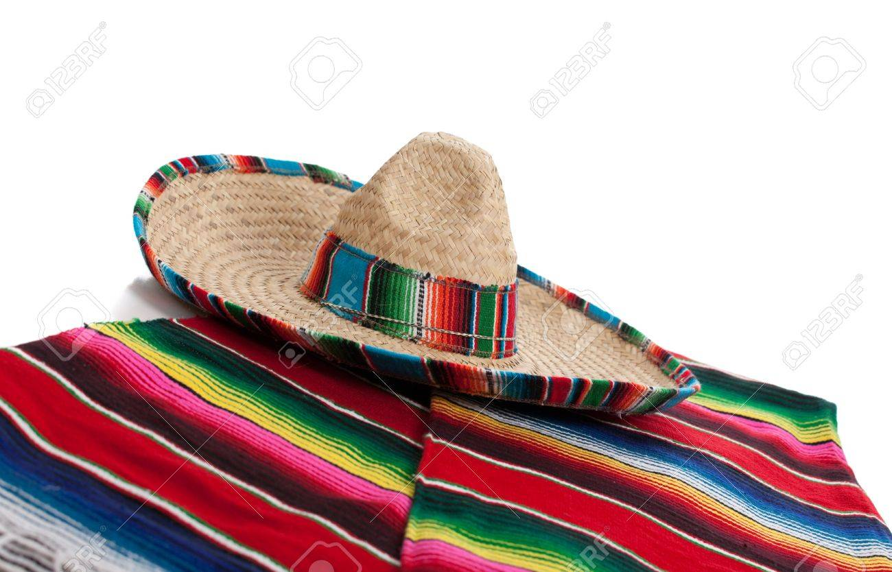 Mexican Serape and a sombrero on a white background - 17288189