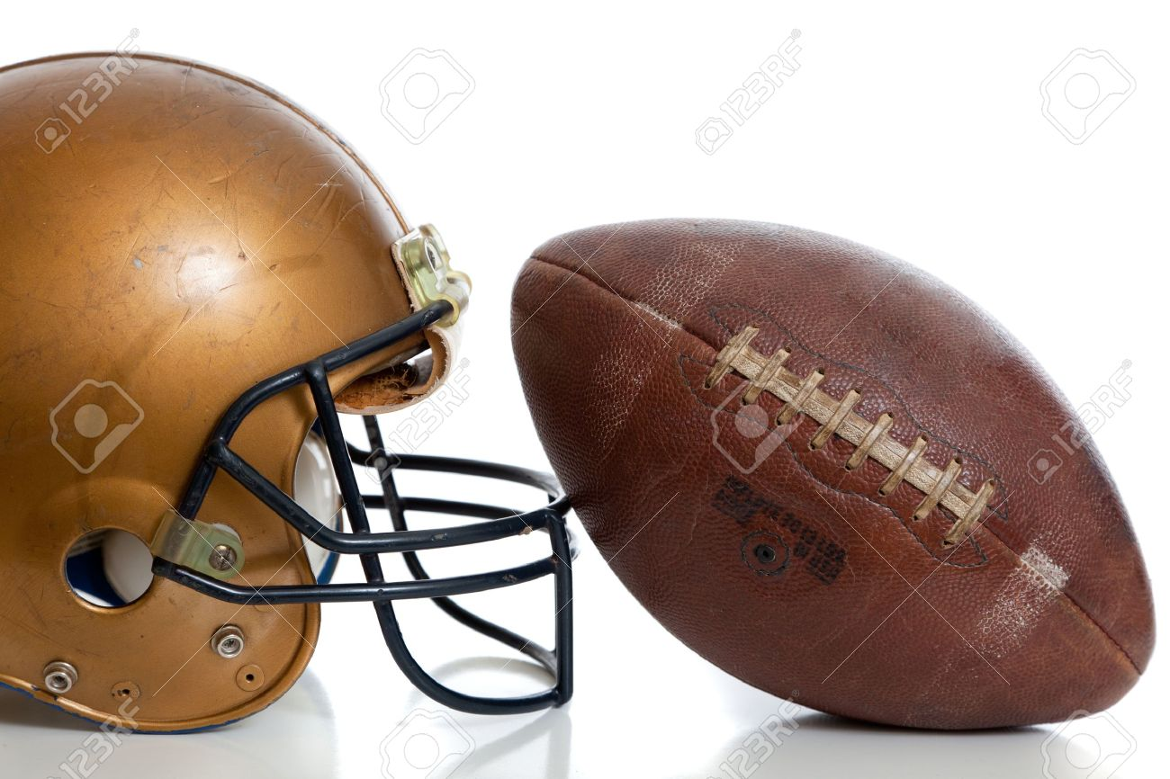 A retro football helmet and football on a white background - 20654780