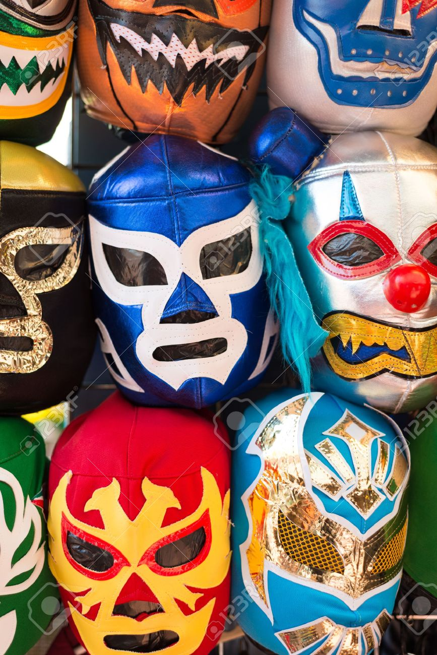 Arrangement of various colored luchador masks as a background - 20950149