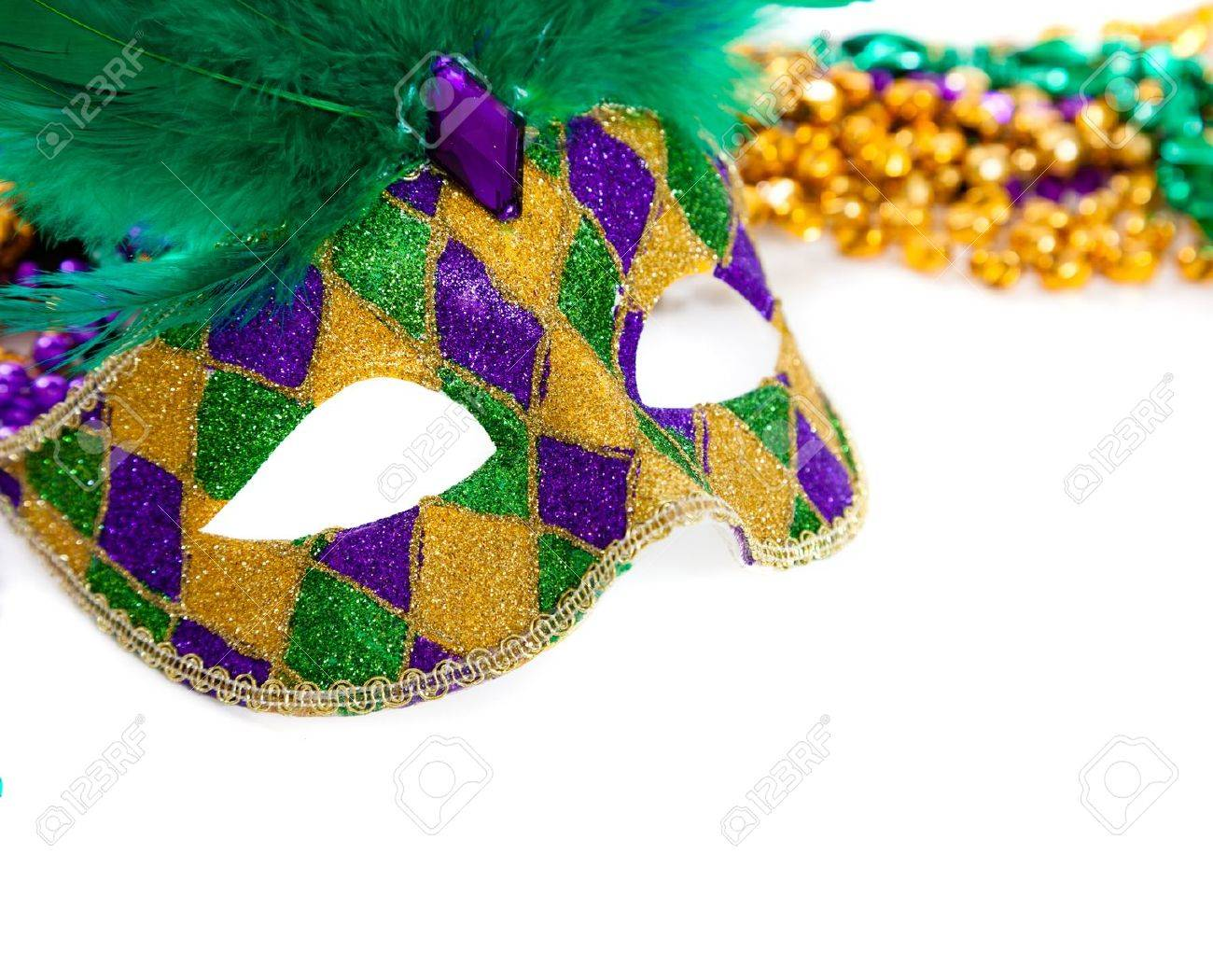 gold and on photo gras stock mask beads green carnival a mardi white purple