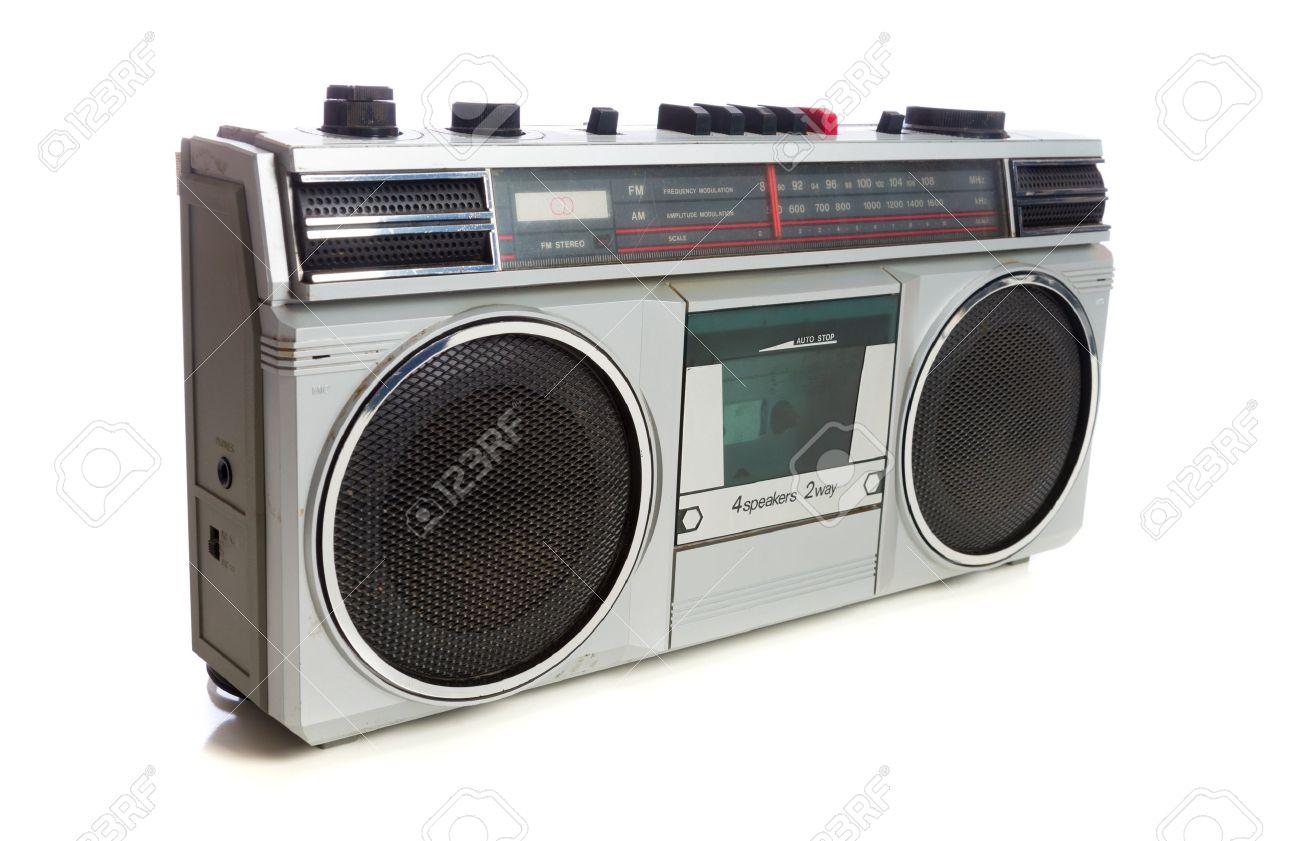 vintage radio or boom box on white background - 20950439