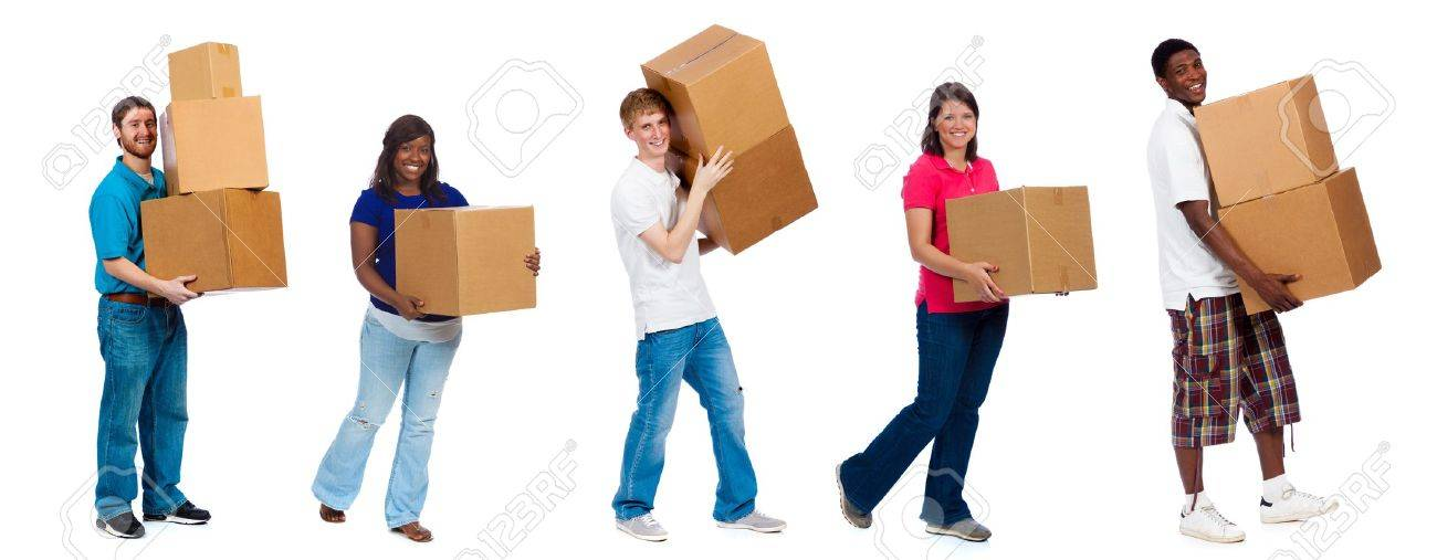 A group of college students and friends carrying moving boxes on a white background - 21158604
