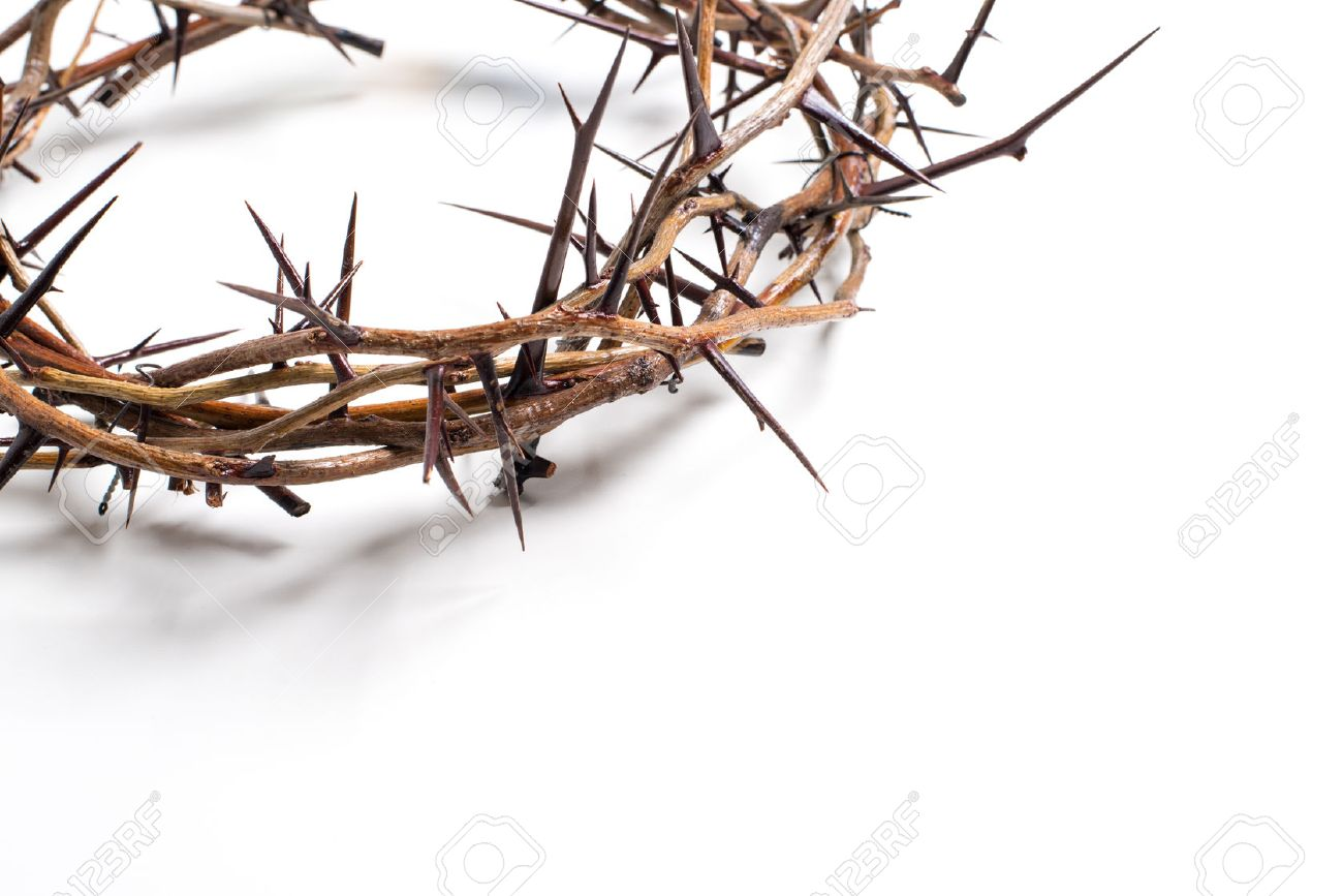 Crown of thorns on a white background Easter religious motif commemorating the resurrection of Jesus- Easter - 44669965