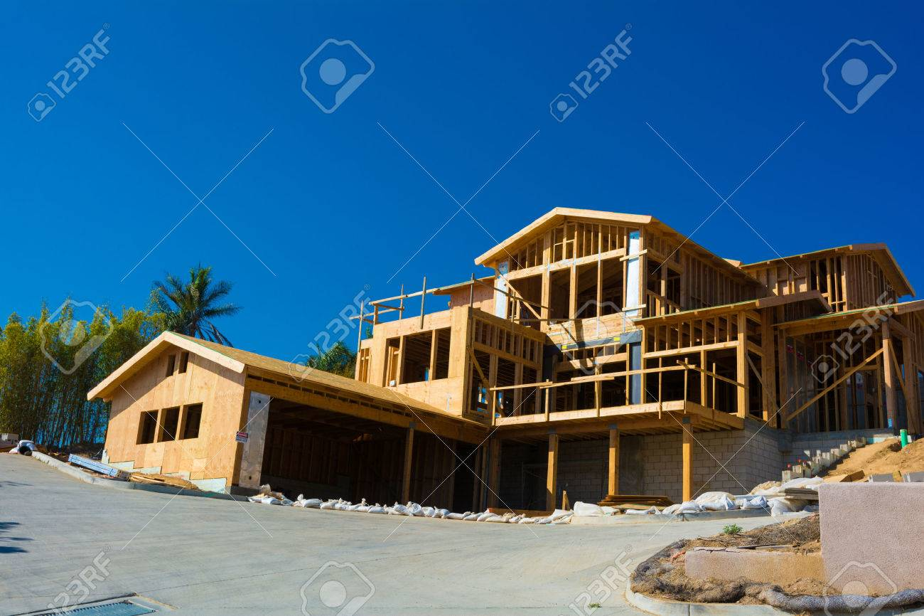 Wooden framing for construction of a new home - 44669823