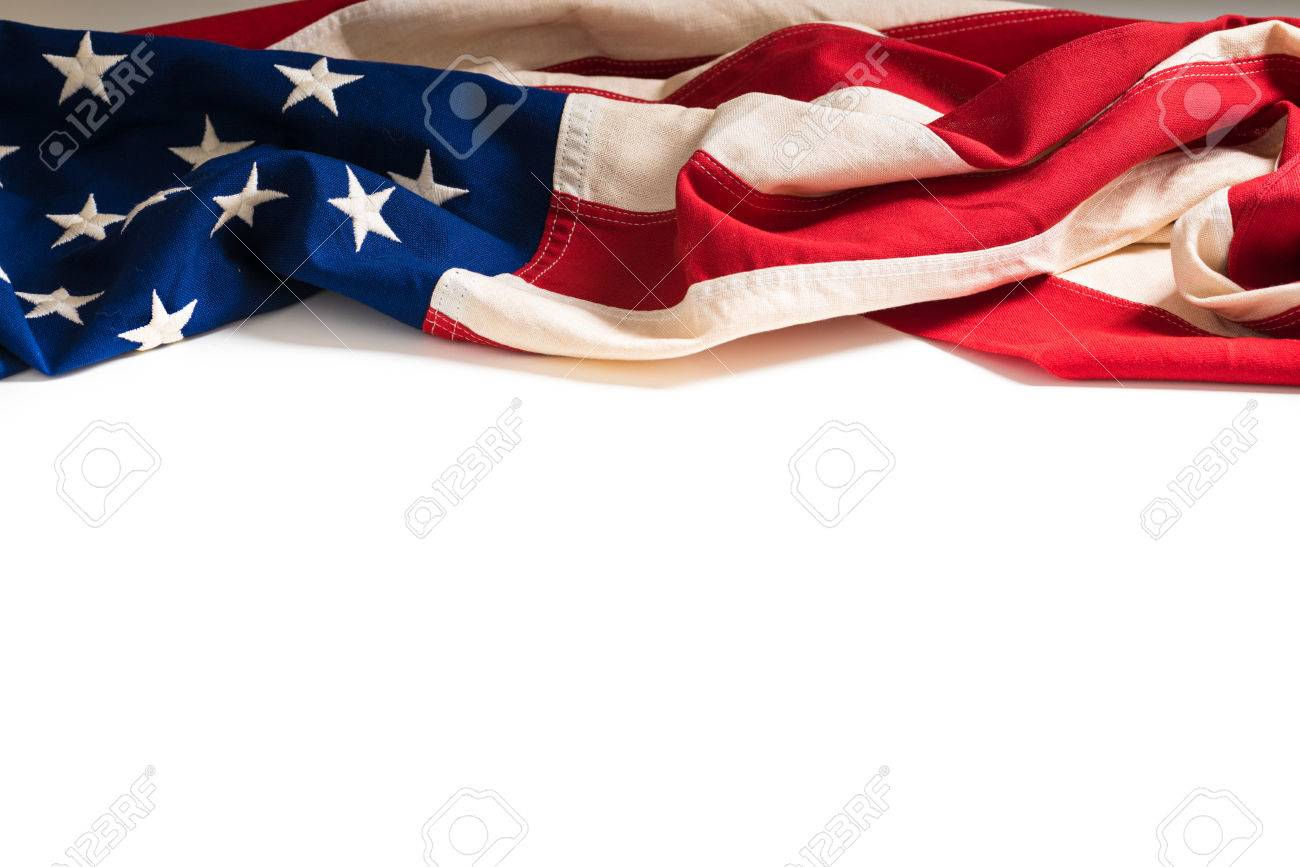 A vintage flag of the United States of America on white with copy space - 44577556