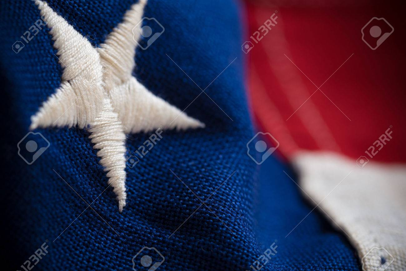 Macro or close-up of American flag use as a background for Memorial, Veterans or Independence day - 44715387
