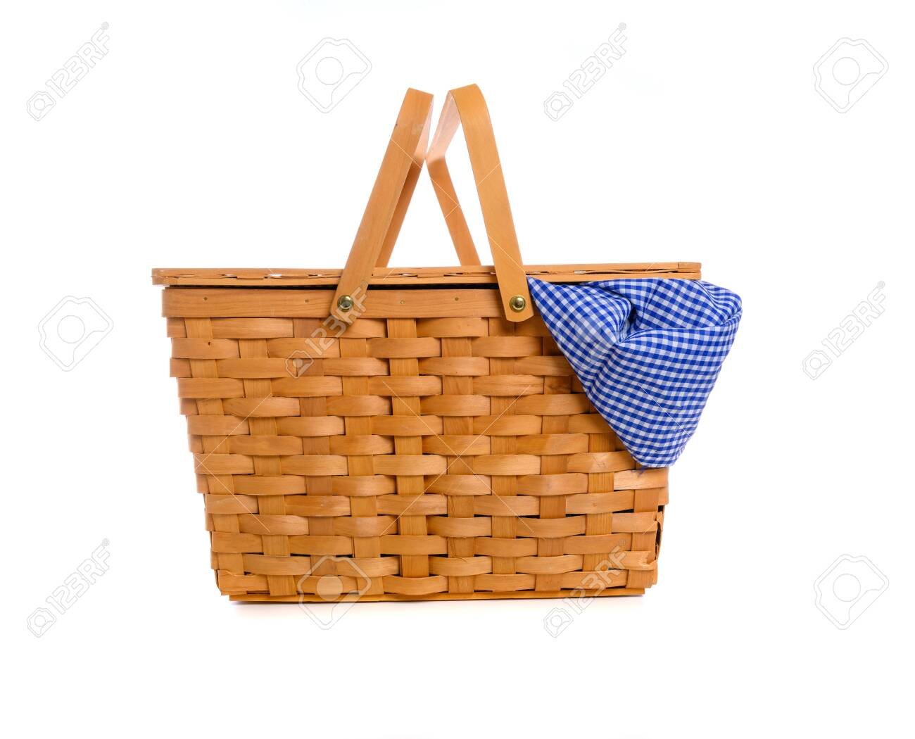 A Brown Wicker Picnic Basket On A White Background With Gingham Stock Photo Picture And Royalty Free Image Image 126583385