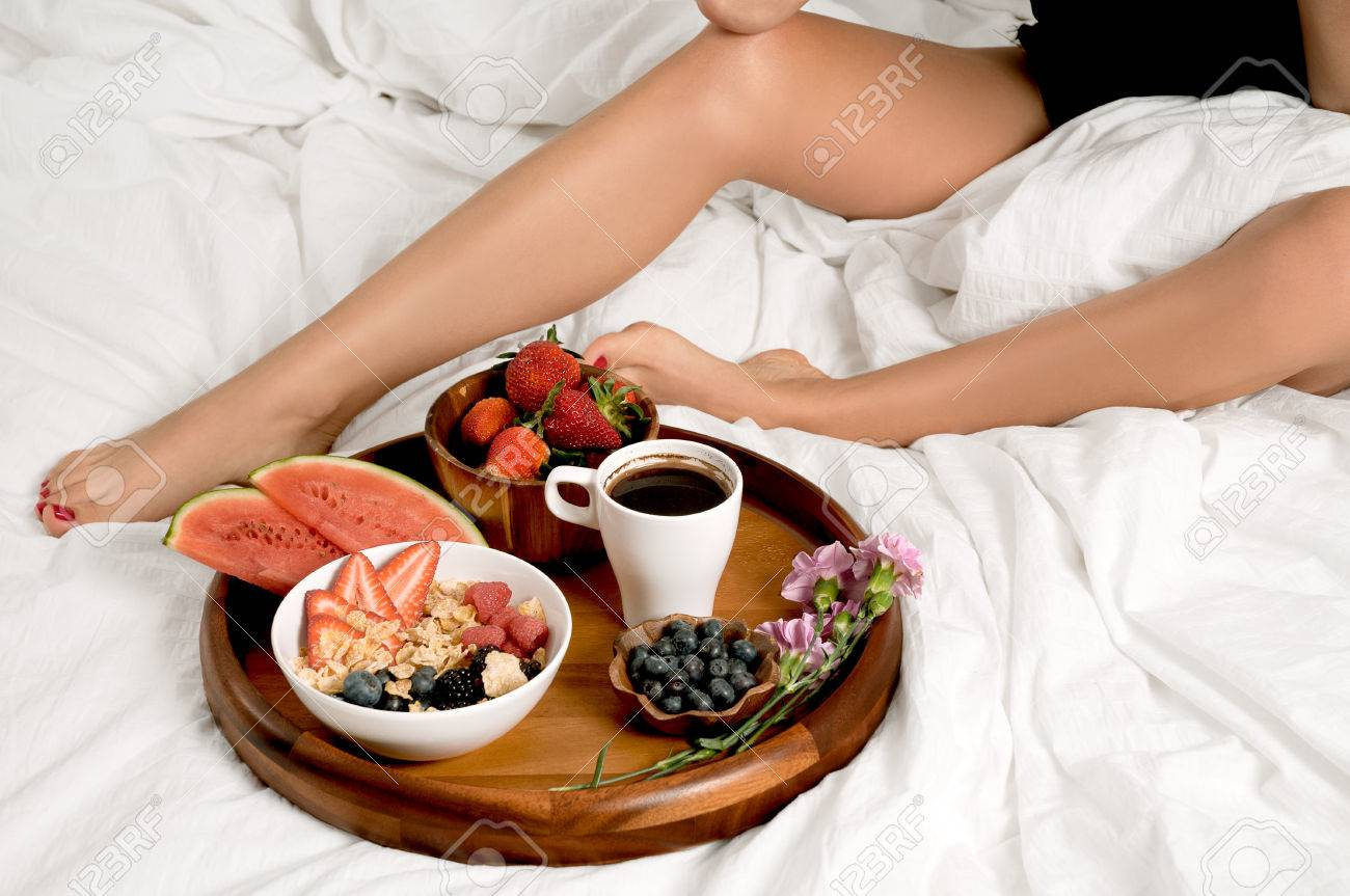 Morning And Healthy Breakfast Woman Having Breakfast In Bed Stock Photo Picture And Royalty Free Image Image 79387460