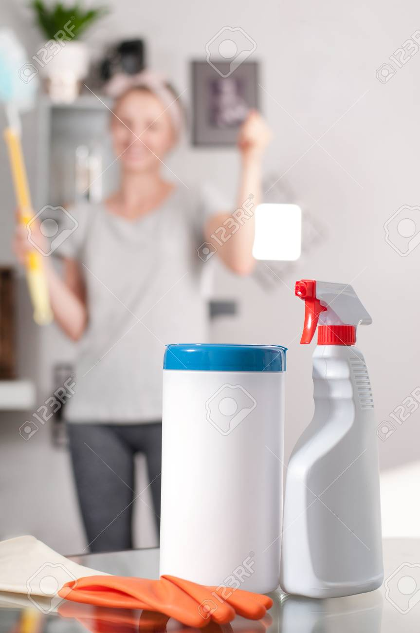 Cleaning Supplies. Professional Cleaner Doing Cleanup In Ordinary ...