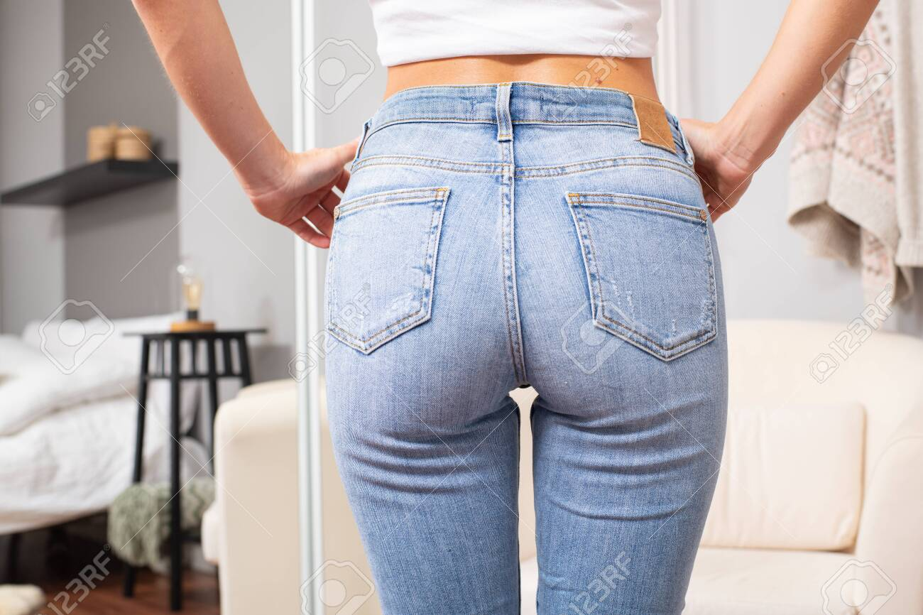 Woman Wearing Of Jeans Pants Female Bottom In Tight Jeans Stock Photo Picture And Royalty Free Image Image 134937205