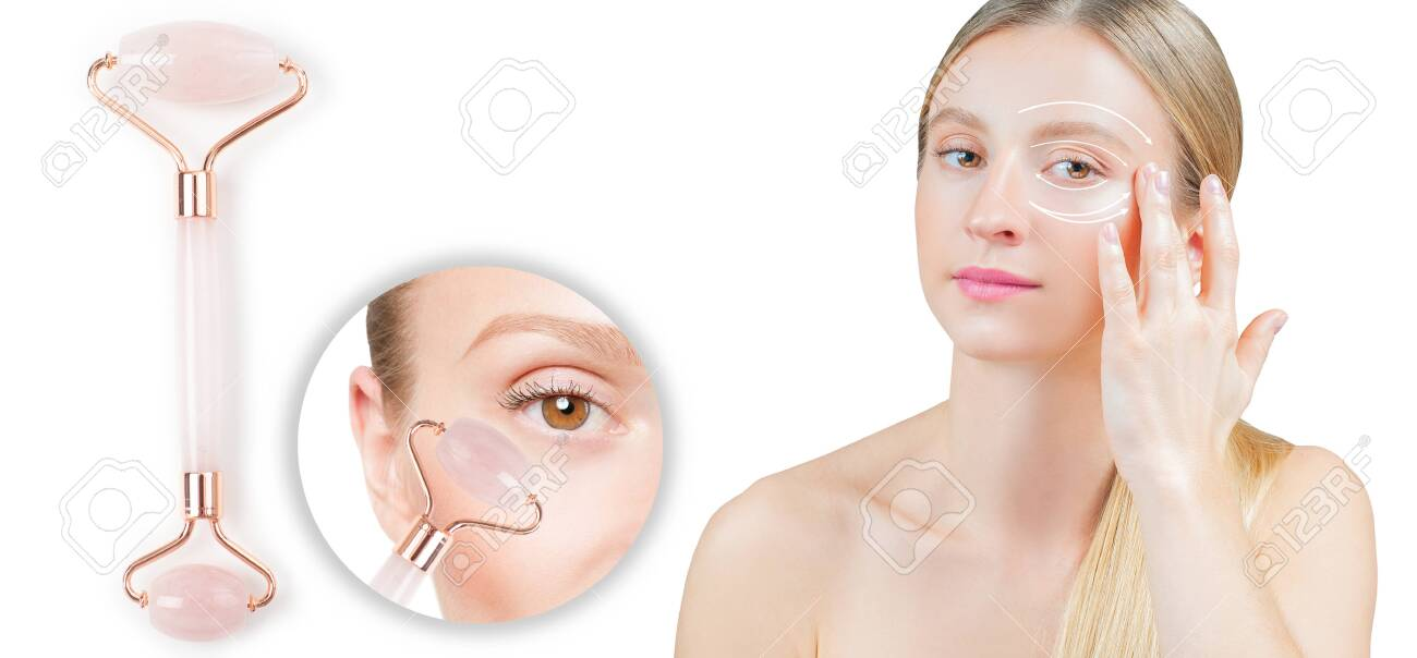 Anti-aging treatment wrinkles under eye with jade roller. Woman with perfect skin of her face after massage. - 135843331