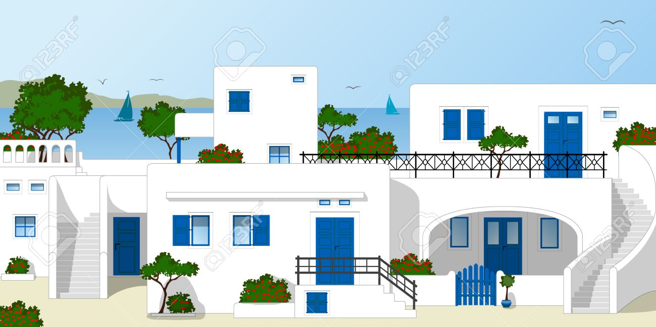Traditional Greek Houses traditional greek houses royalty free cliparts, vectors, and stock