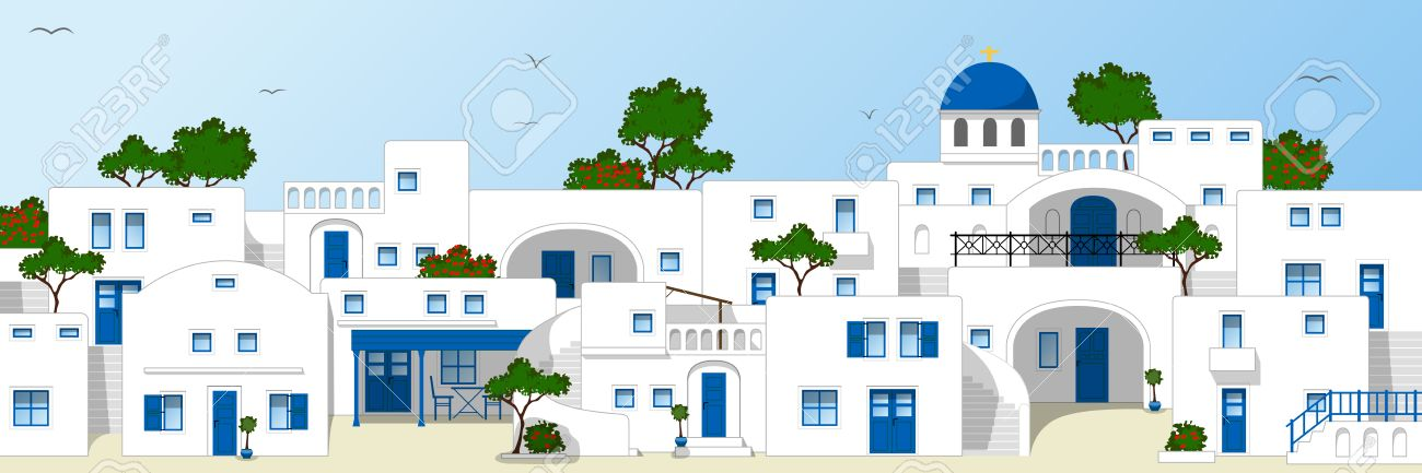 Traditional Greek House traditional greek houses royalty free cliparts, vectors, and stock