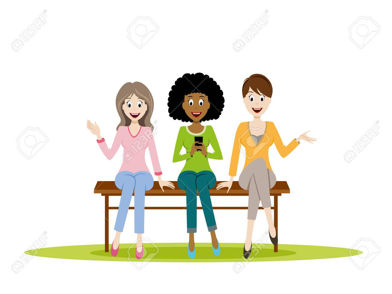 Three Girls Sitting On A Bench Royalty Free Cliparts Vectors And